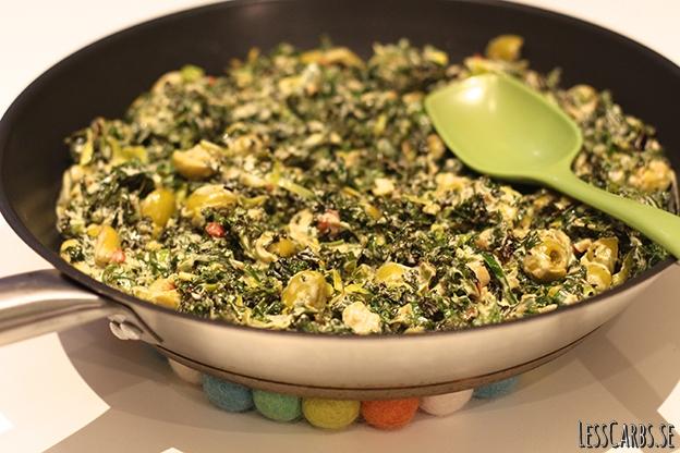 Auberginerullar med krämig grönkål/purjo- och olivröra