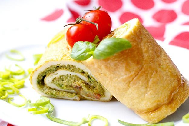 Omelettwrap med broccolihummus – en dunderkombo!