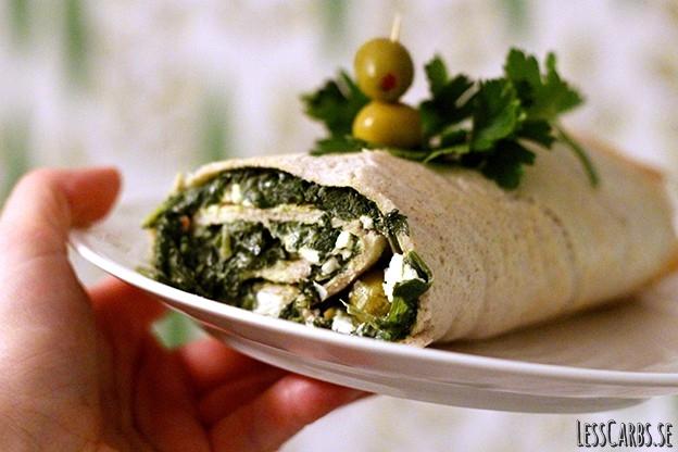 Wrap med spenatröra, oliver och fetaost – Veg/LCHF