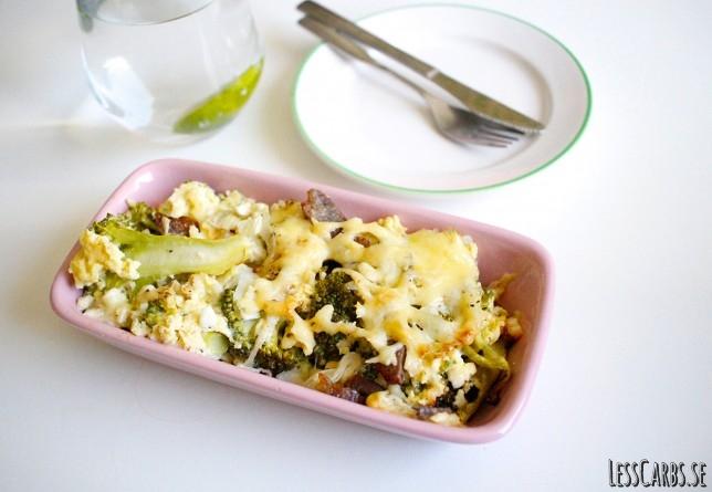 Broccoli/keso/bacongratäng – härligt krämig med sälta!