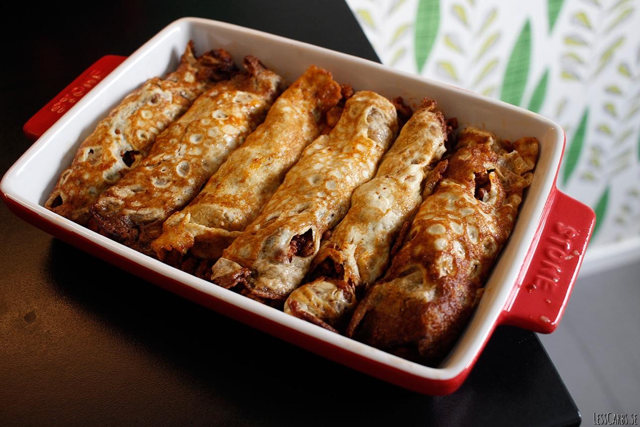 Crêpes med köttfärsfyllning