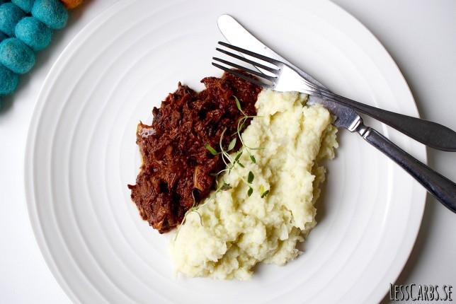 Marockansk pulled beef med vitkålsmos