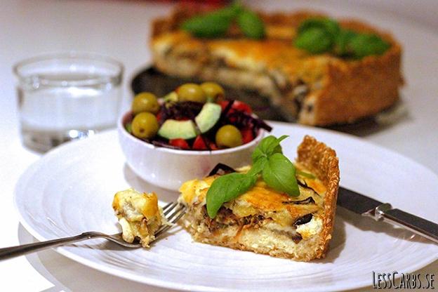 Auberginepaj med lök och rosmarin – glutenfri/LCHF