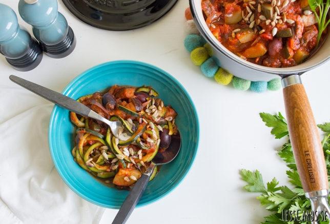 Caponata och zucchinipasta