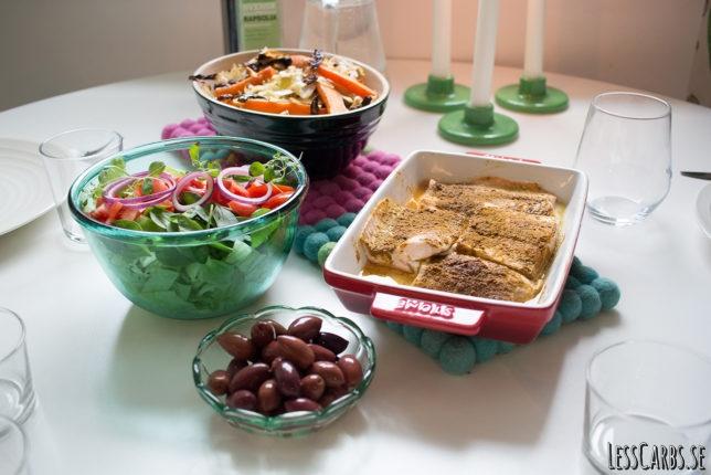 Pinklax med rostade grönsaker