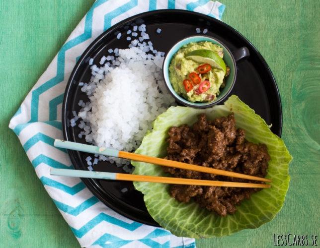 Köttfärsröra med tacosmak, guacamole och low carb rice