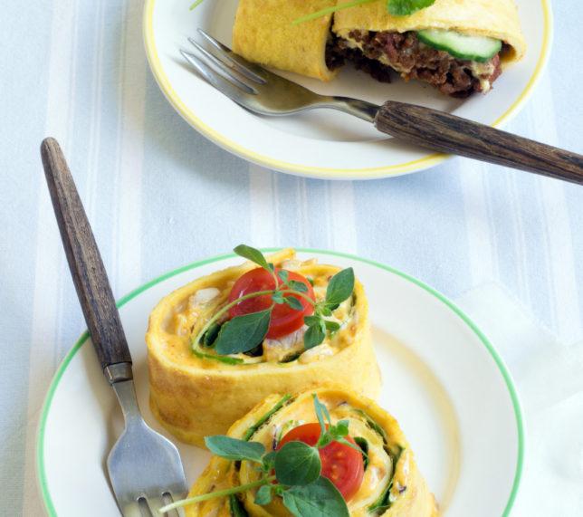 Omelettwraps på två sätt