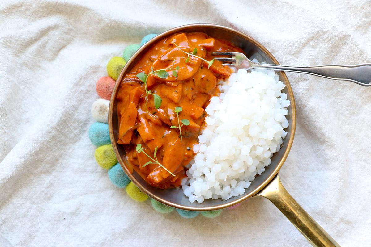 Korvstroganoff och ris – barnsligt gott!