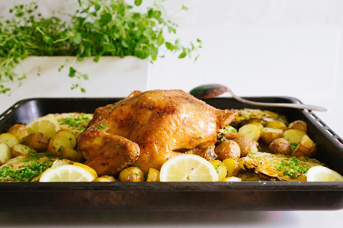 Hel kyckling i ugn