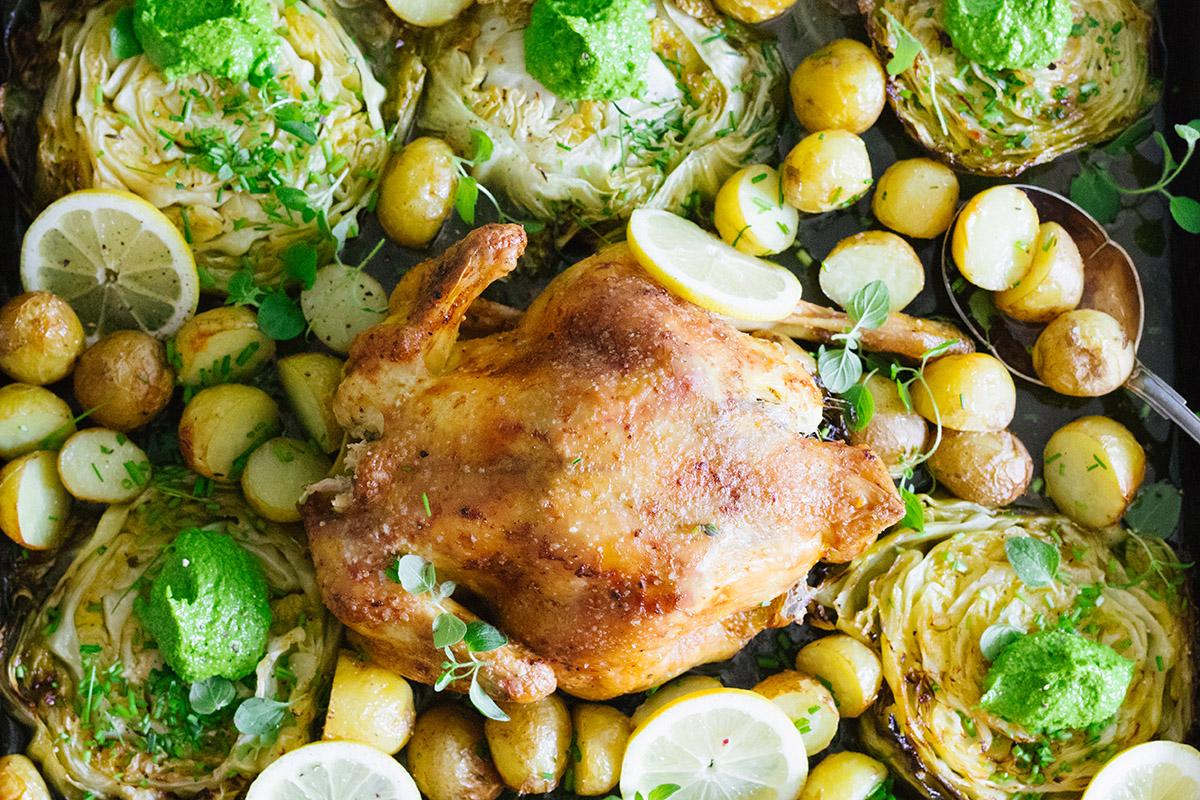 Kyckling med kål och pesto