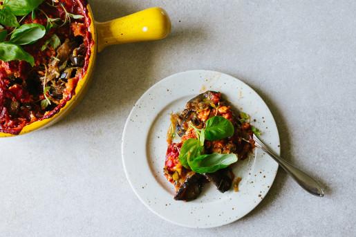 Auberginegratäng med purjo och fetaost
