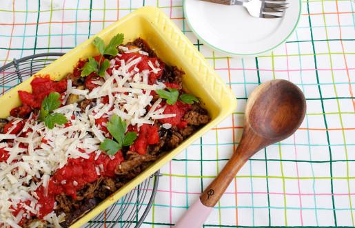 Lamm- och auberginelåda med tacosmak
